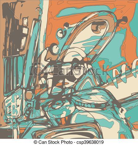 Vector Clip Art of original digital painting of abstraction.