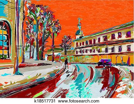 Clipart of original digital painting of winter k18517731.