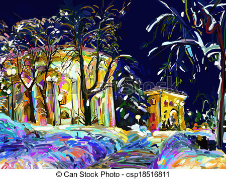 Vector Clip Art of winter night cityscape digital painting.
