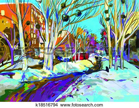 Clipart of original digital painting of winter cityscape. Modern.