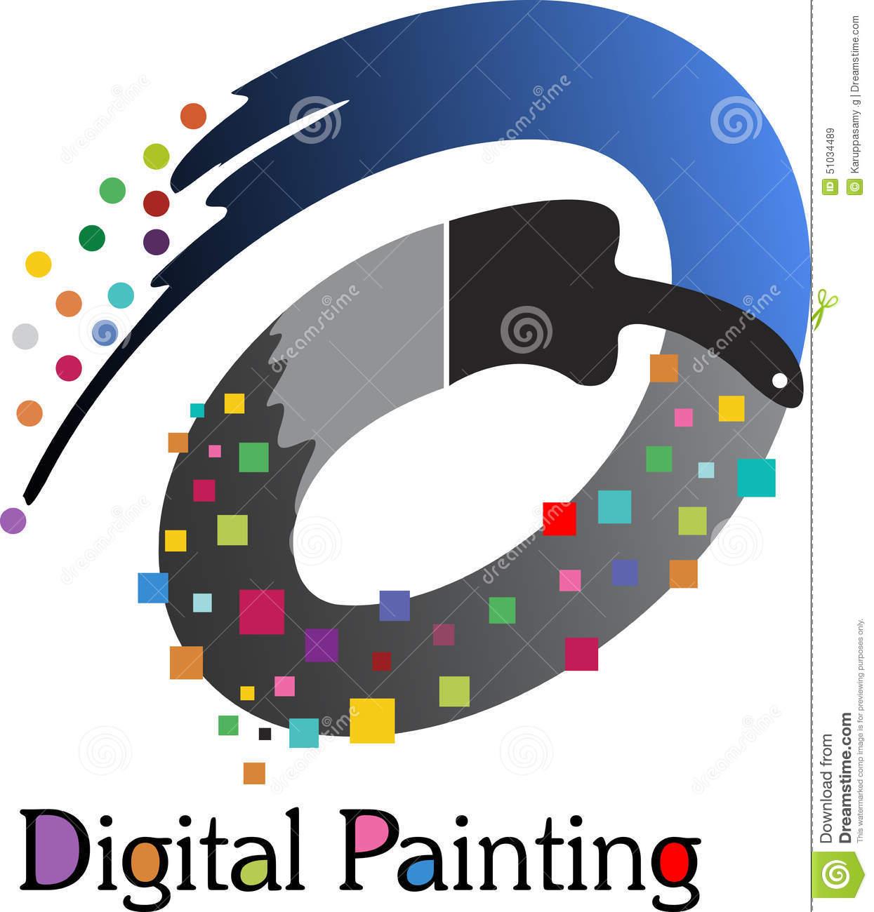 Digital Painting Logo Stock Vector.