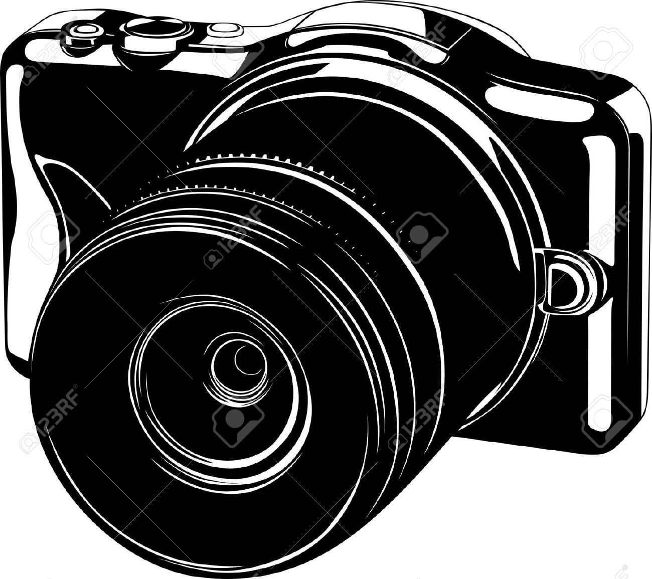 Modern Digital Camera On White Royalty Free Cliparts, Vectors, And.