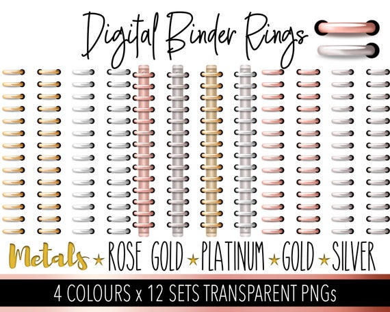 Digital Planner Rings Metalic Rose Gold Silver Platinum and Gold Bundle  Personal and Limited Commercial Use 12 Sets DigiBujo.