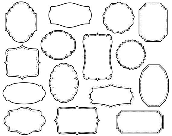 CLIP ART: 15 Digital Scrapbook Frames // Clipart // Decorative.