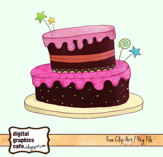 Free scrapbook cake clipart from Digital Graphics Cafe.