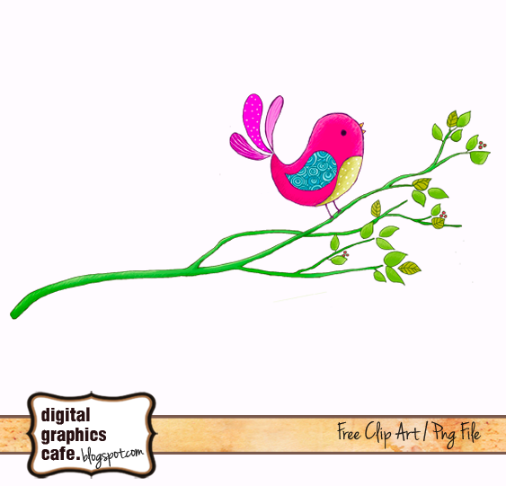 Free Bird on branch scrapbook clipart from Digital Graphics Cafe.