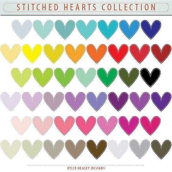 Digital Scrapbooking Stitched Hearts.