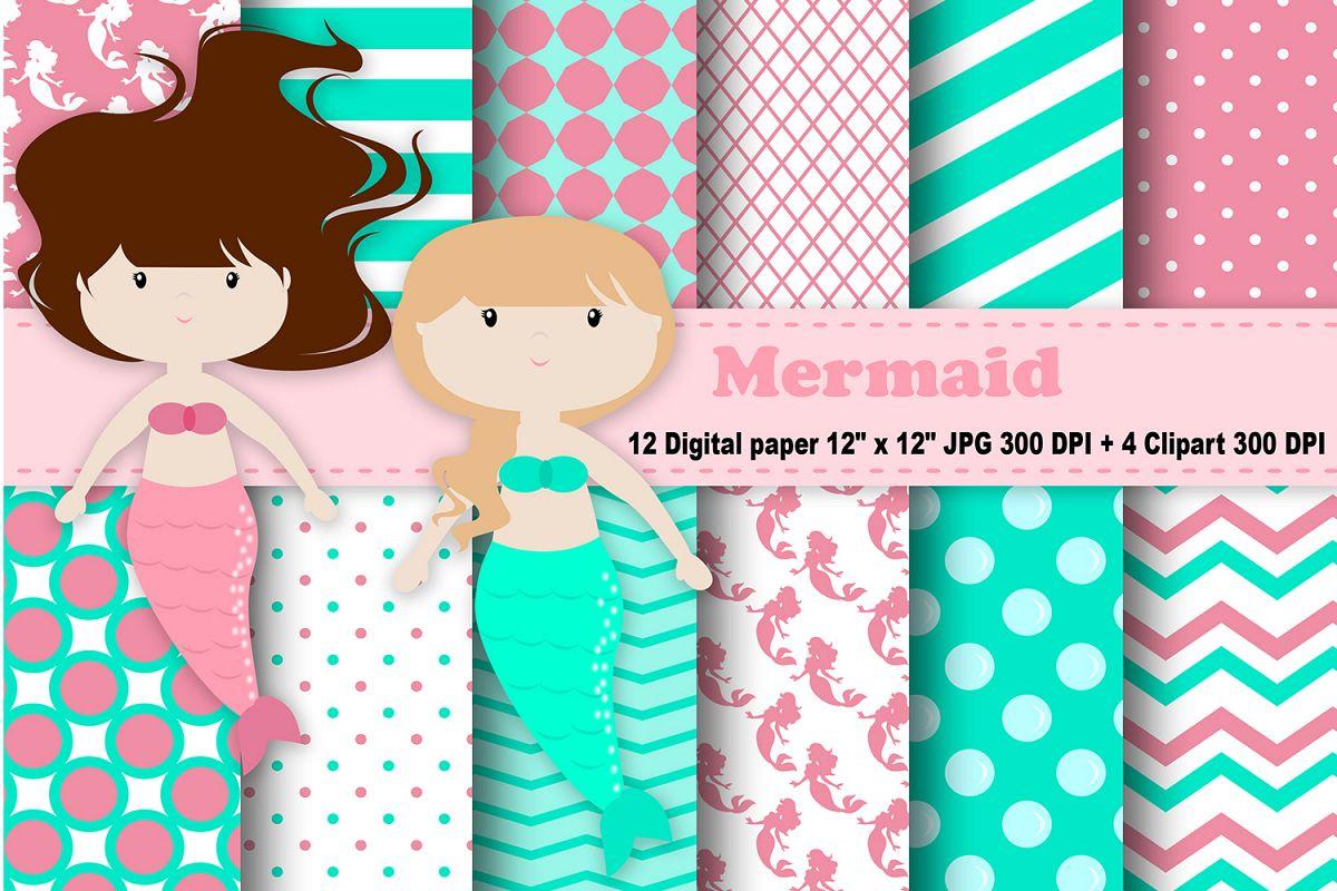 Mermaid Digital Paper, Bubbles Background, Sea Pattern, Girls Digital  Paper, Digital Scrapbook, Scrapbooking Papers, Mermaid Clipart..
