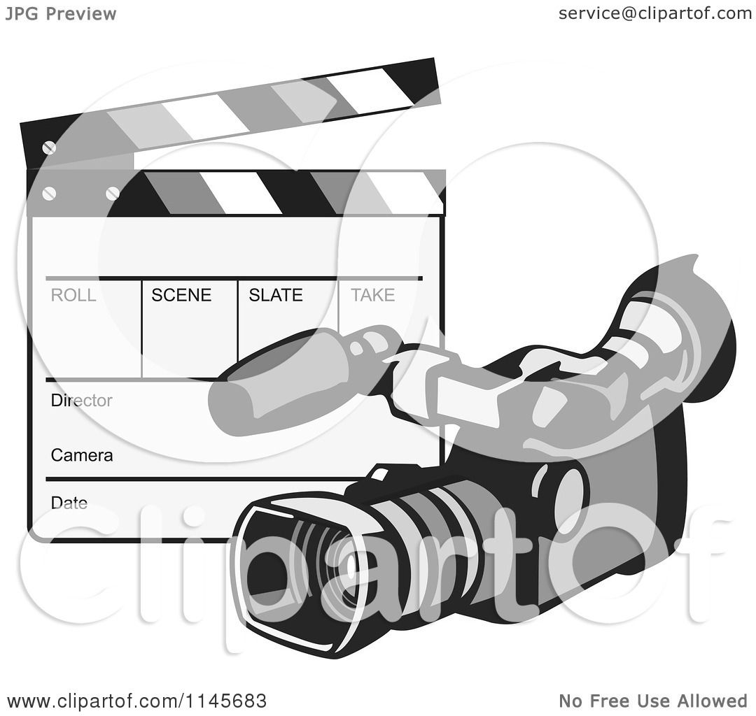 Clipart of a Retro Video Camera and Clapper Board.