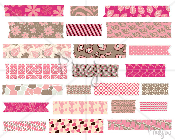 Digital Washi Tape Clipart // Vector and PNG Format // Washi Tape.