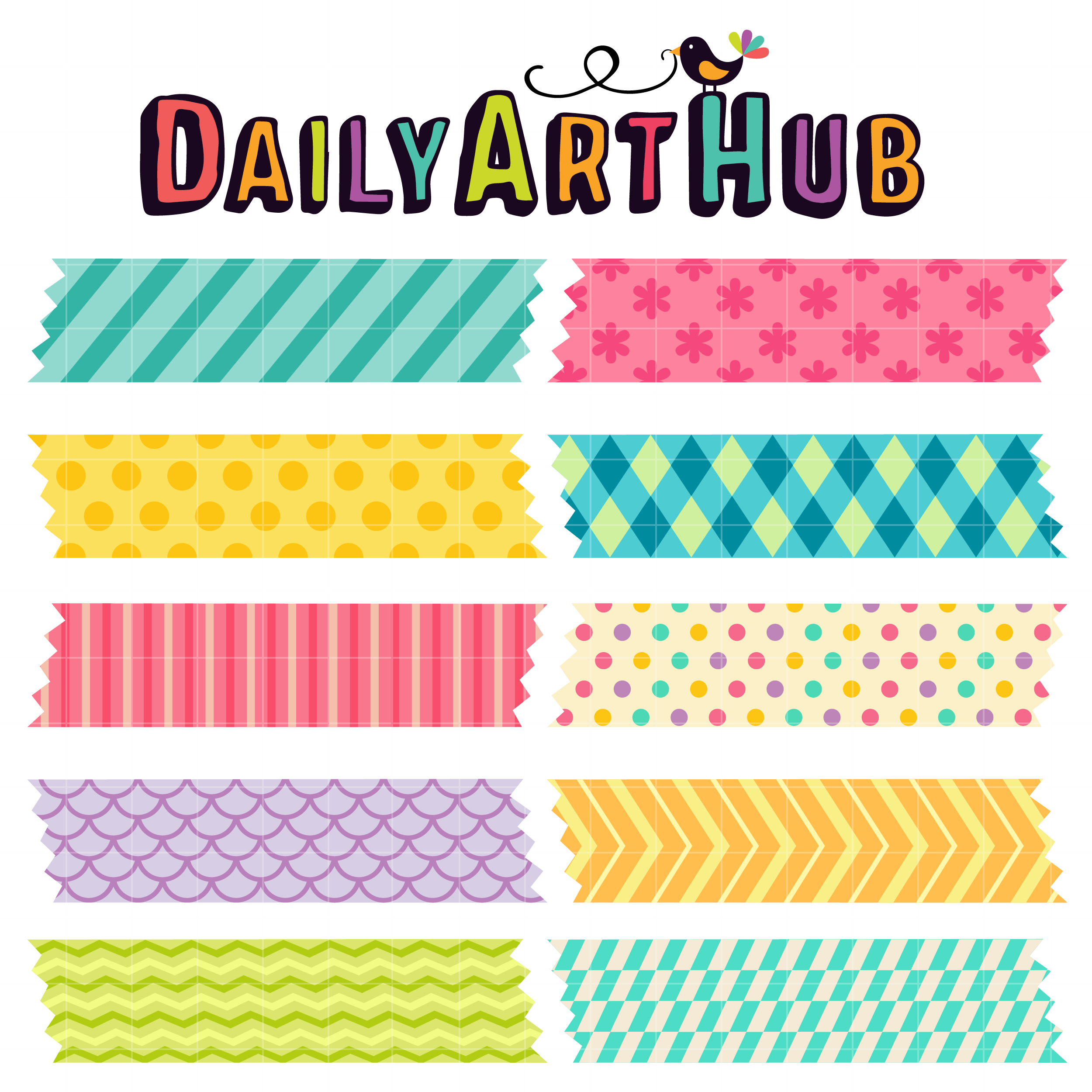 Washi Tapes Clip Art Set.