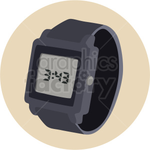 digital watch on circle background clipart. Royalty.