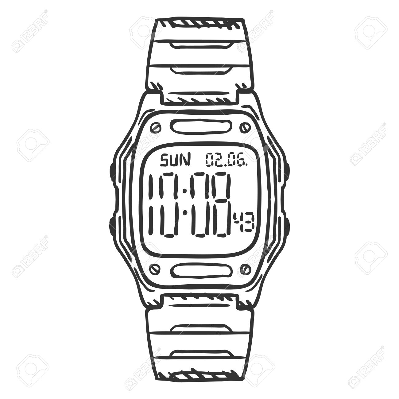 Vector Sketch Classic Digital Wrist Watch » Clipart Station.