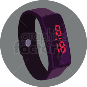 vector digital watch on circle grey background clipart. Royalty.