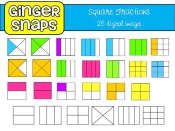 Square Fractions Clip Art Set.