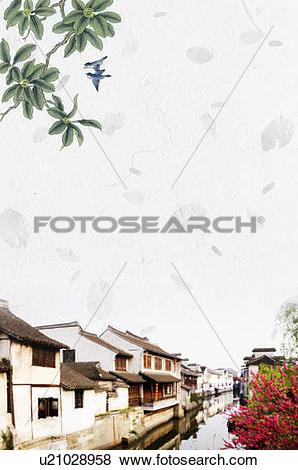 Stock Illustration of Digitally enhanced image of Chinese houses.