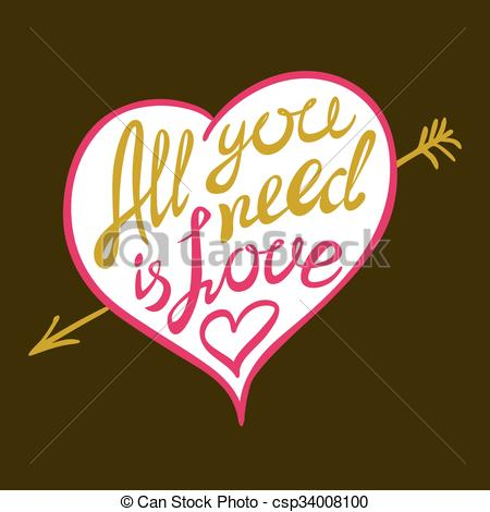 Vector Clipart of Digitally generated All you need is love vector.