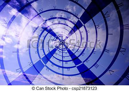 Clip Art of Digitally generated roman numeral clock vortex on blue.