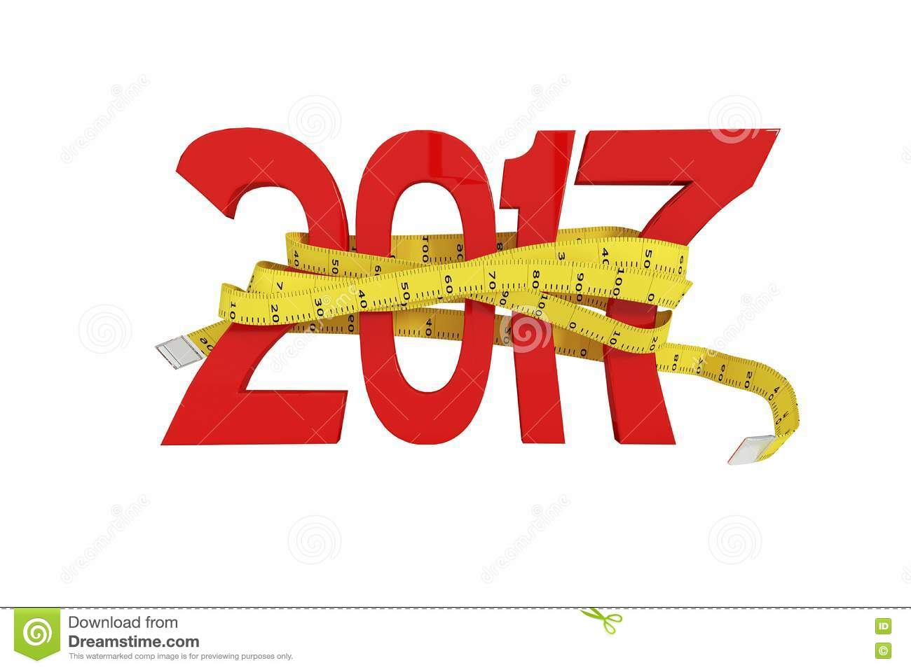 Digitally Generated Image Of New Year With Tape Measure Stock.