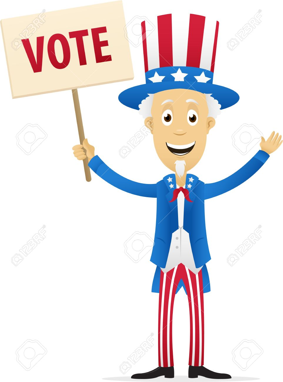 Digitally Generated Image Of Uncle Sam Holding Vote Placard.