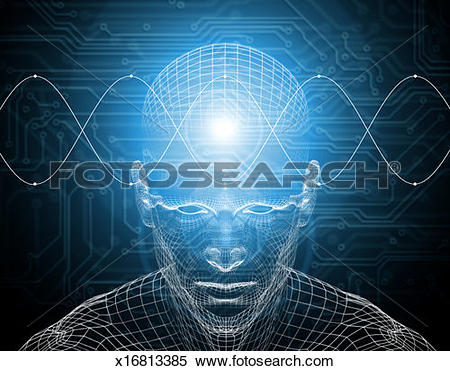 Stock Image of Waves traveling across wire frame of man's brain.