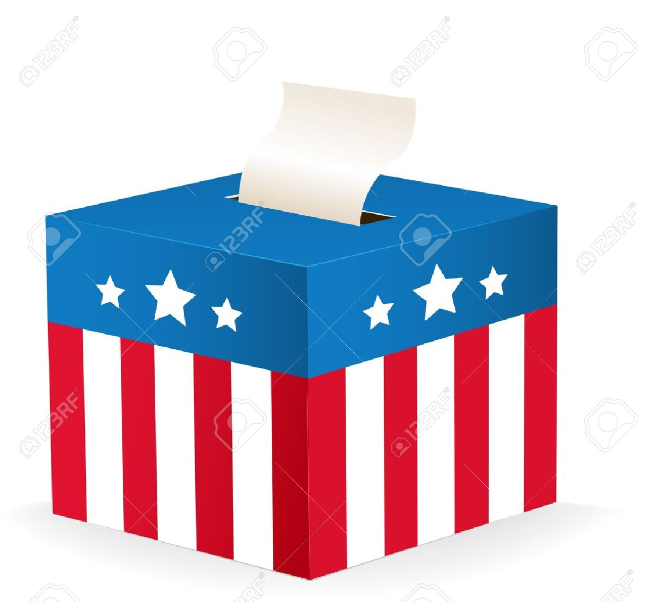 Digitally Generated Image Of A Ballot Box With Stars And Stripes.