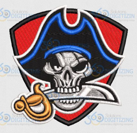 Buy Pirate Logo Design Digitized for Machine Embroidery Online in $5.