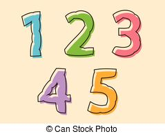 Clip Art Vector of 56789 irregular numbers or digits.