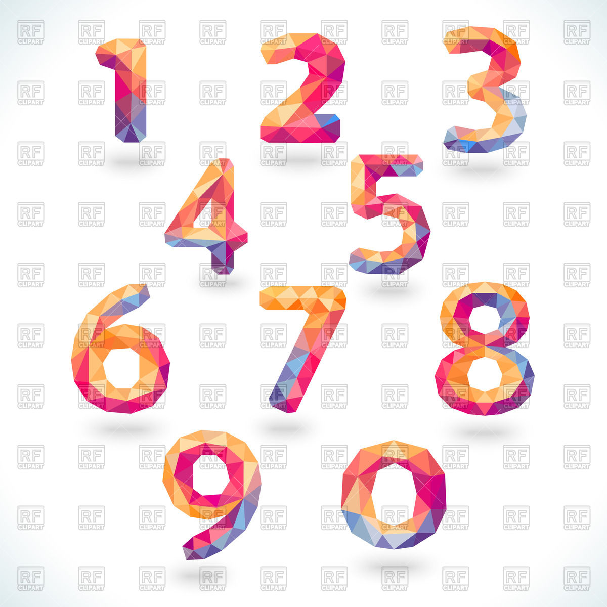 Numbers (digits) in modern polygonal crystal style Vector Image.