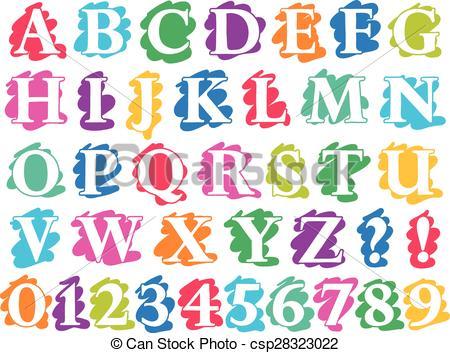 Vector Illustration of Colour doodle splash alphabet letters and.