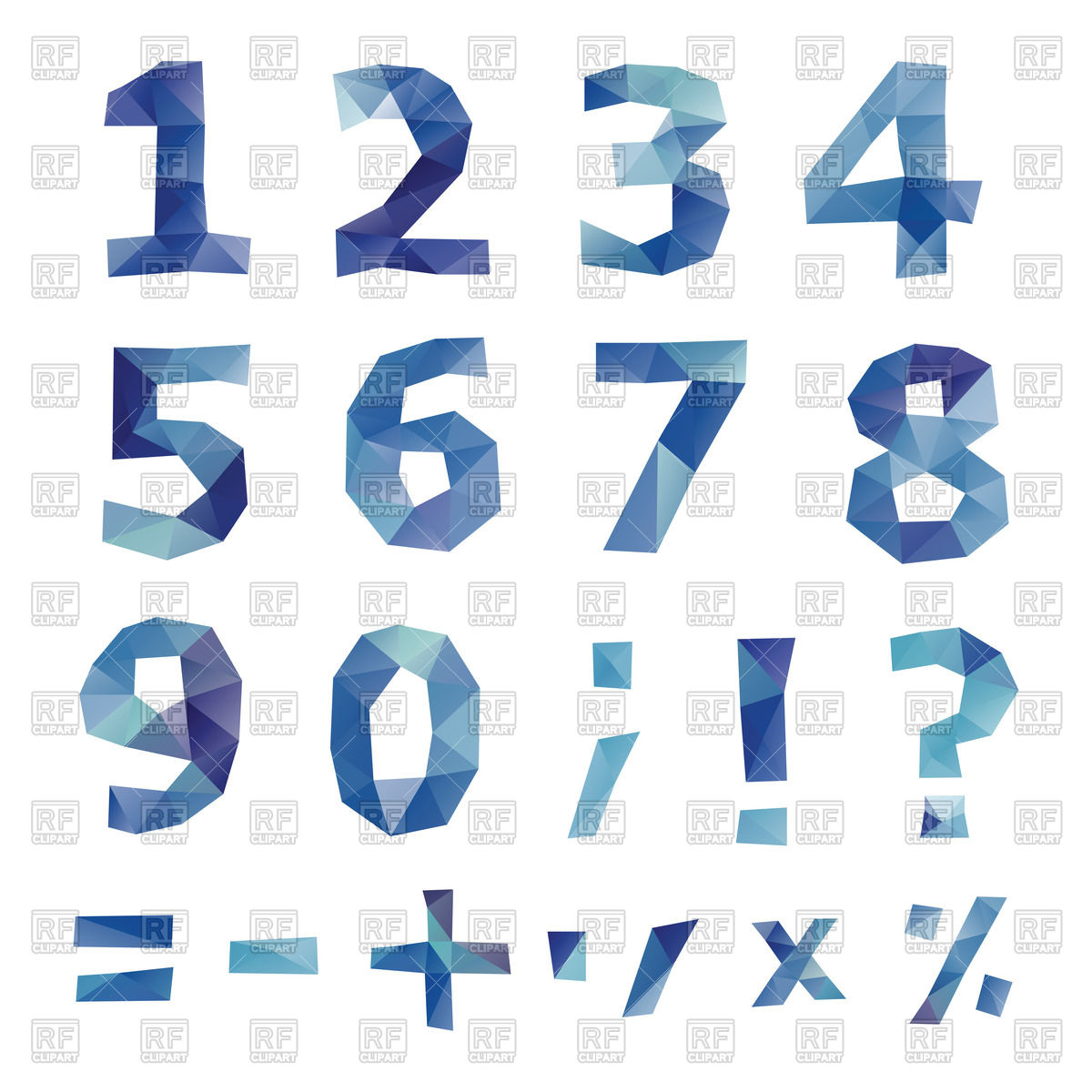 Blue numbers (digits) and mathematical signs in modern polygonal.