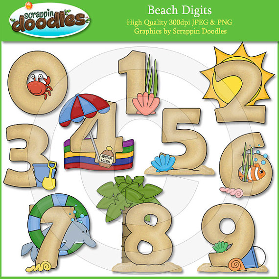 Beach Digits Clip Art by ScrappinDoodles on Etsy.