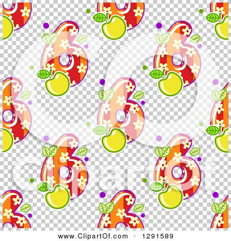 Clipart of a Seamless Background Pattern of Floral and Striped.