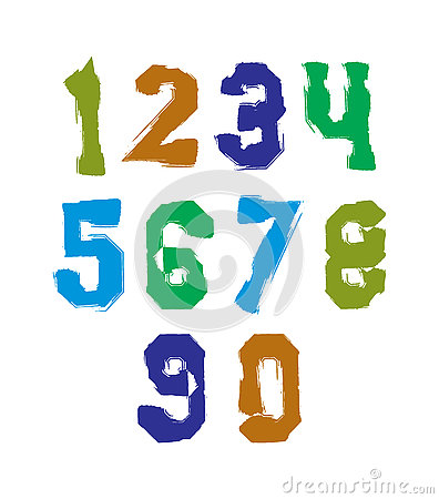 Set Of Colorful Digits Stock Photo.