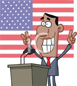 Presiden Barak Obama Giving a Speech Clipart Image.