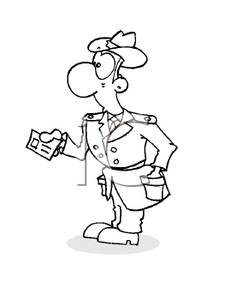 A_Black_and_White_Cartoon_Dignitary_Showing_His_Identification_Royalty_Free_Clipart_Picture_100712.