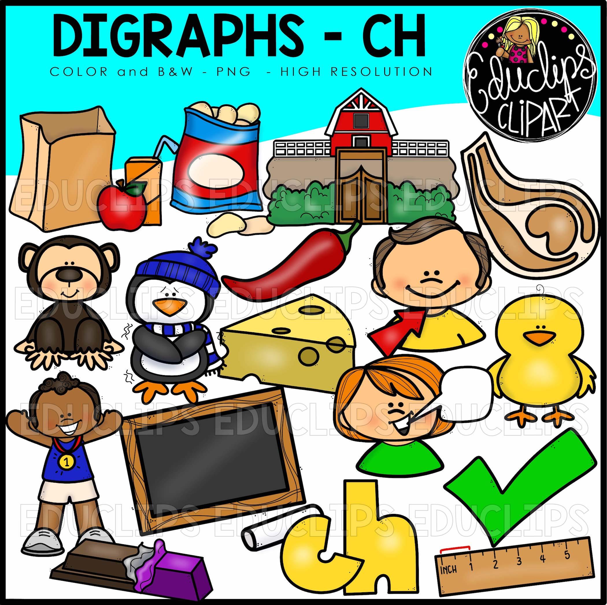 Digraph~CH Clip Art Bundle (Color and B&W).