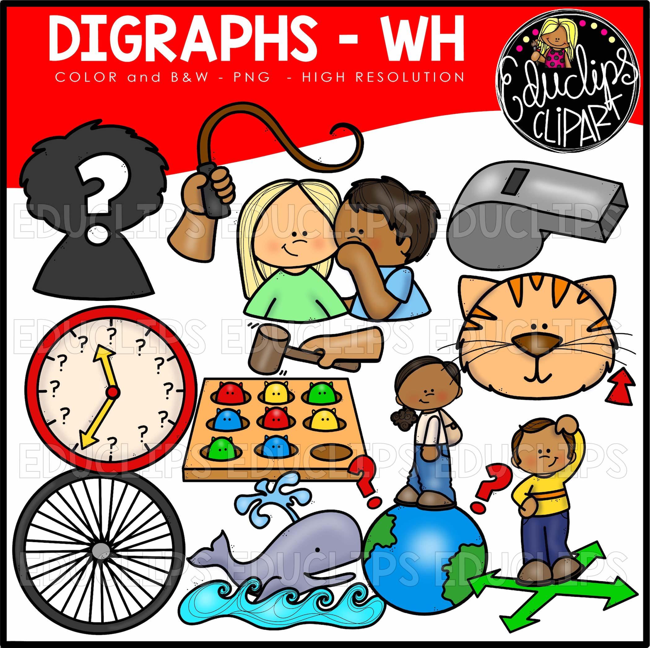 Digraph WH ~ Clip Art Bundle (Color and B&W).