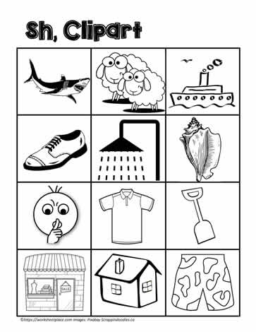 Clipart for sh Digraphs Worksheets.