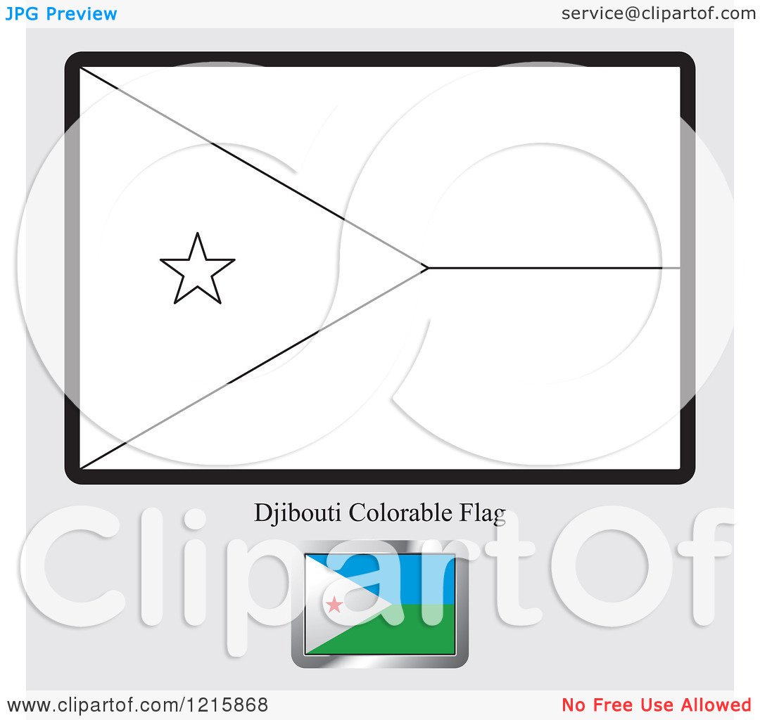 Clipart of a Coloring Page and Sample for a Djibouti Flag.