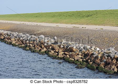 Stock Photo of Typical example of a straight Dutch dyke csp8328782.