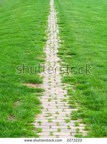 Brick Path On A Green Dike. Stock Photo 2273222 : Shutterstock.