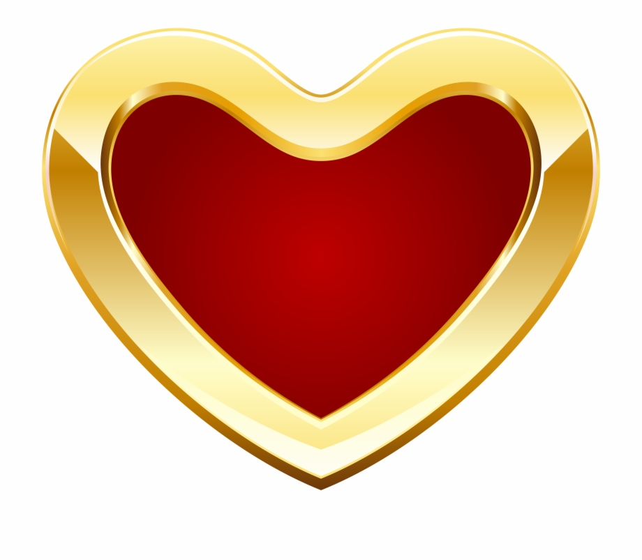 Red And Gold Heart Png Clipart Dil Image.