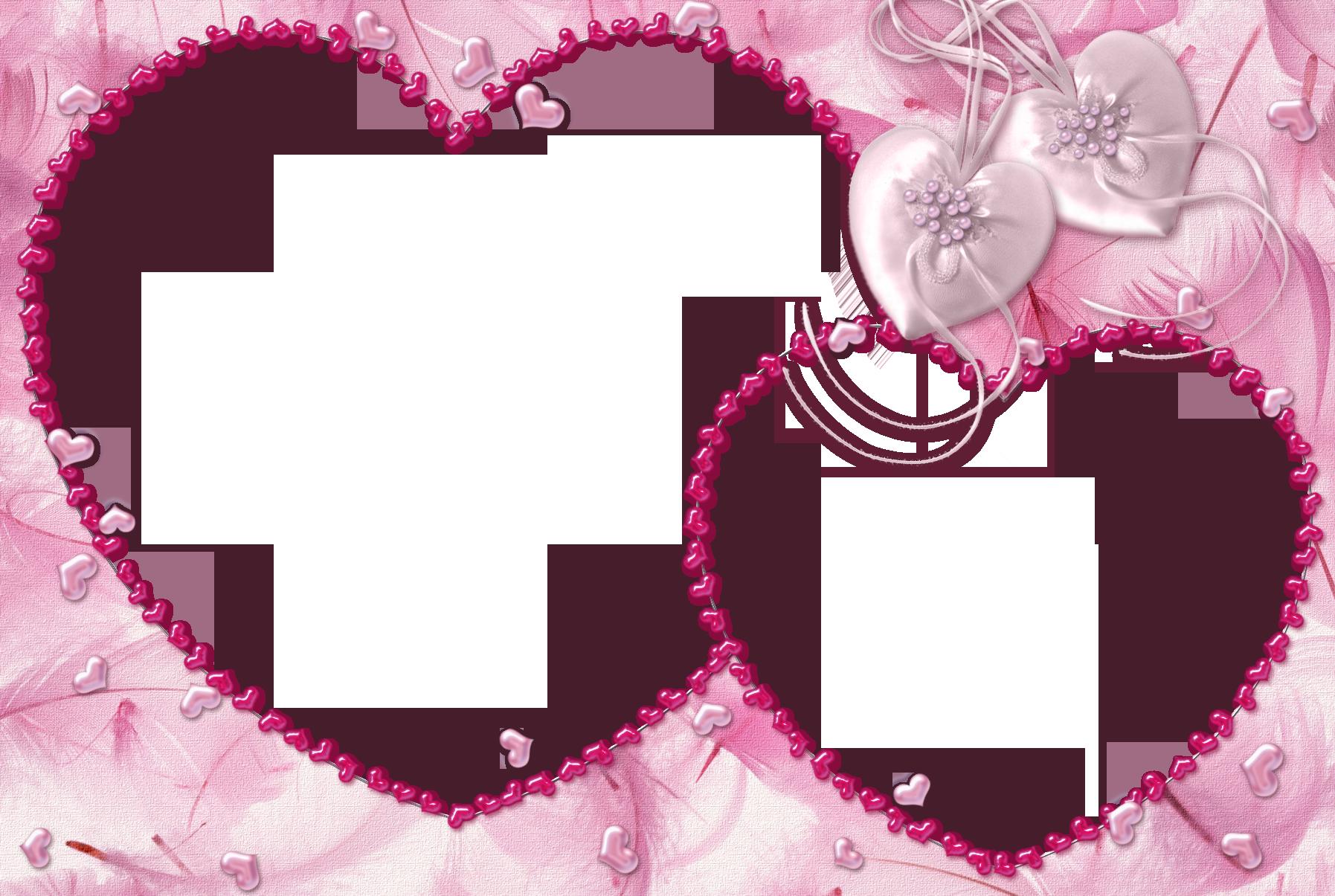 Pink Heart Transparent Frame.