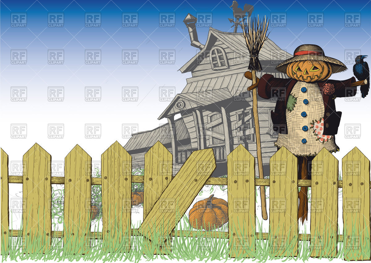Halloween card with wooden dilapidated house, scarecrow and fence.