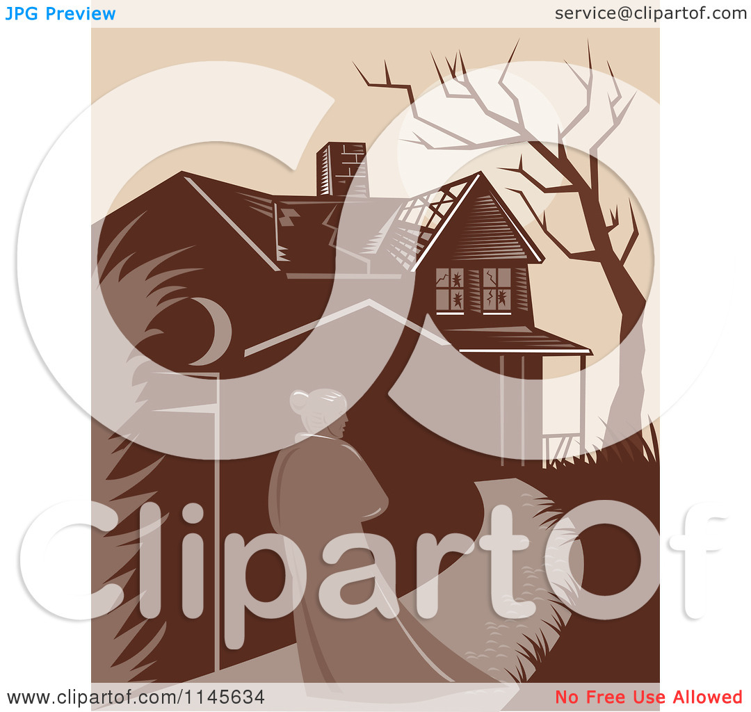 Clipart of a Retro Woman Walking Towards a Dilapidated Mansion.