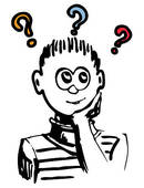 Stock Illustration of Boy thinking or have a dilemma or idea.