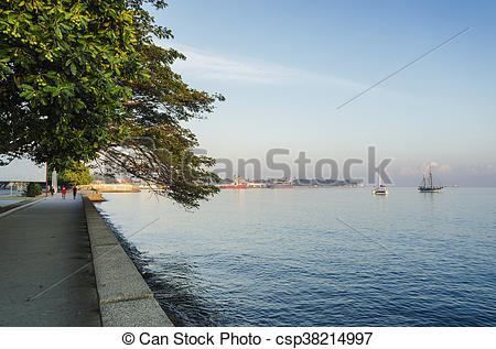 Stock Photographs of central dili city seaside promenade in east.