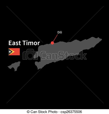 Vector Clipart of Detailed map of East Timor and capital city Dili.