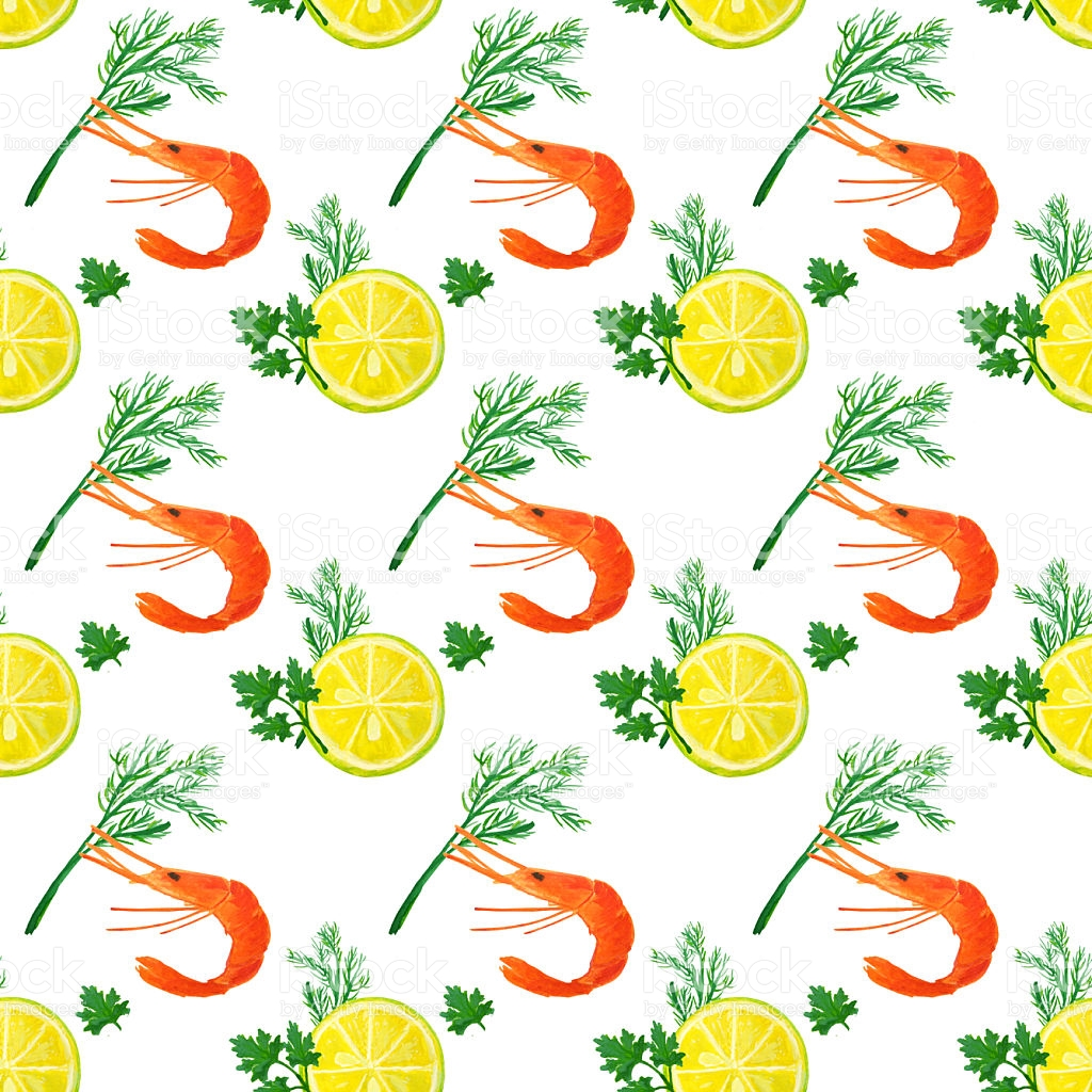 Seamless Pattern With Watercolor Slices Of Lemon Shrimps Dill.